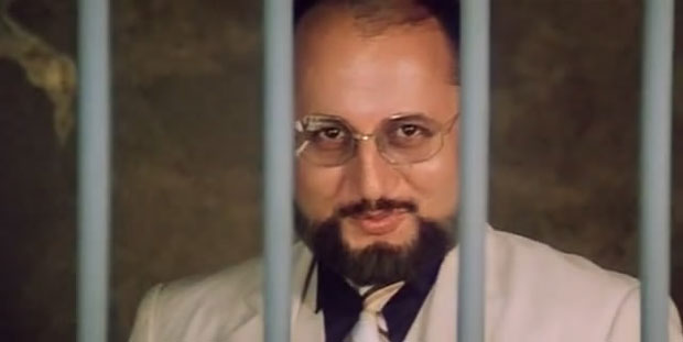 Anupam Kher as a 'Dr. Dang' in a still from movie 'Karma'
