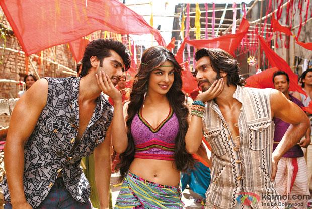Arjun Kapoor, Priyanka Chopra and Ranveer Singh in a still from movie 'Gunday'