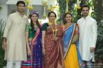 Ahana Deol and Vaibhav Vora poses with Hema Malini, Esha Deol and Bharat Takhtani on Mehendi ceremony
