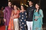 Ahana Deol and Vaibhav Vora poses with Bharat Takhtani, Esha Deol and Hema Malini on Sangeet ceremony