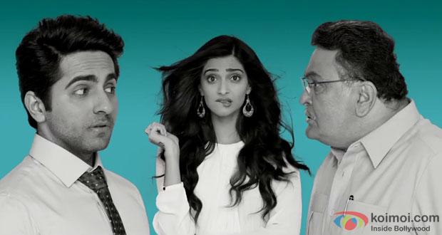 Ayushmann Khurrana, Sonam Kapoor and Rishi Kapoor in a still from movie 'Bewakoofiyaan'