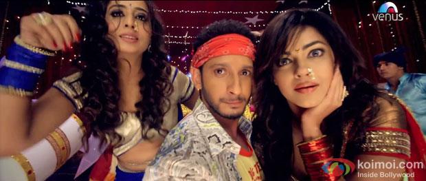 Mahie Gill, Sharman Joshi and Meera Chopra in a 'Naach Madhubala' song still from movie 'Gang Of Ghosts'