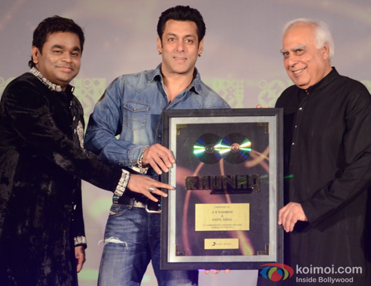 A R Rehman,Salman Khan and Union Minister Kapil Sibal