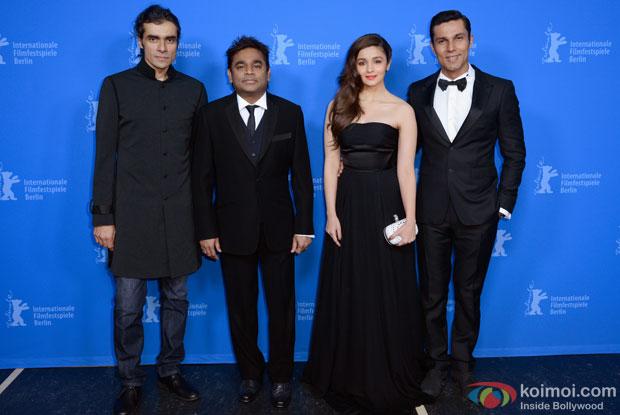 Imtiaz Ali, A R Rahman, Alia Bhatt and Randeep Hooda at Berlin Film Festival