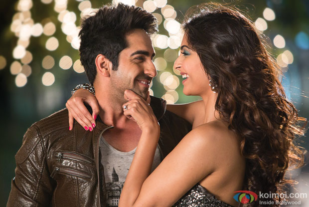 Ayushmann Khurrana and Sonam Kapoor in a still from movie 'Bewakoofiyaan'