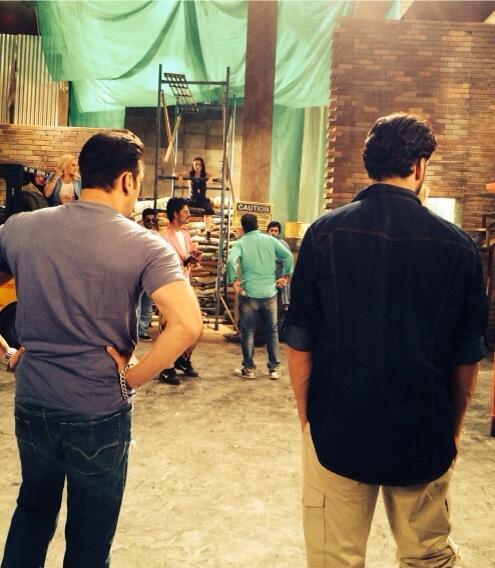 Salman Khan and Akshay Kumar on the sets of Fugly