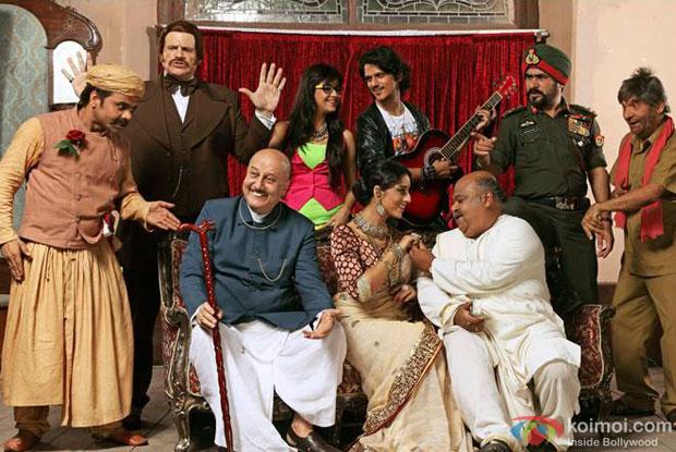 Rajpal Yadav, Anupam Kher, Meera Chopra, Mahie Gill, Saurabh Shukla and Asrani in a still from movie 'Gang of Ghosts'