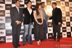 Chetan Bhagat, Sajid Nadiadwala, Alia Bhatt, Arjun Kapoor and Karan Johar during the trailer launch of movie '2 States'