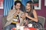 Ayushmann Khurrana and Sonam Kapoor promote 'Bewakoofiyaan' at a Coffee shop Pic 1