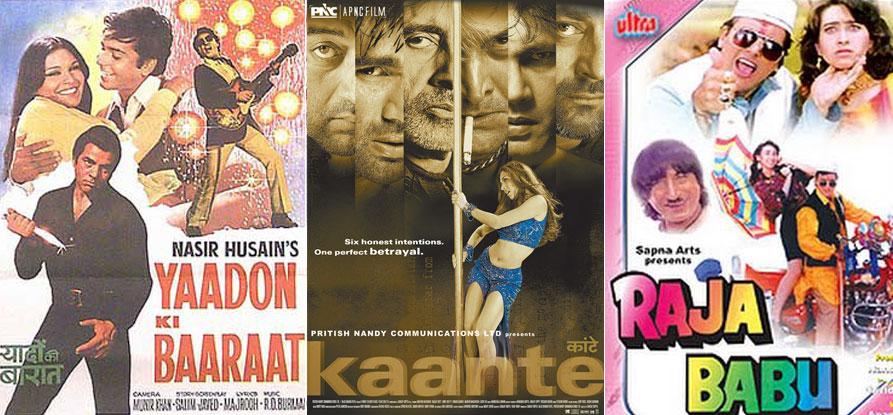 Yaadon Ki Baaraat (1973), Kaante (2002) and Raja Babu (1994) Movie Poster