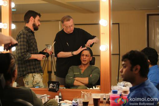 SRK snapped while getting ready for the shoot