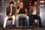 Farhan Akhtar, Hrithik Roshan and Shahid Kapoor during the press meet of IIFA Pic 1