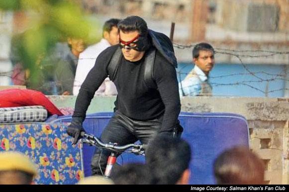Salman Khan on the sets of movie 'Kick'