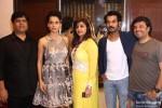 Kangana Ranaut, Rajkummar Rao and Vikas Bahl at Kapil and Monika Arora's collection preview