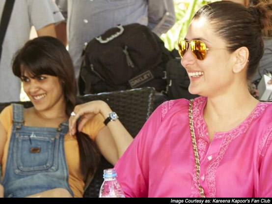 Genelia D'souza and Kareena Kapoor on the sets of 'Humshakals'