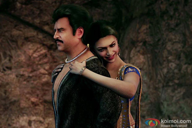 Rajnikanth and Deepika Padukone in a still from movie 'Kochadaiiyaan'