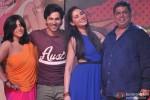 Ekta Kapoor, Varun Dhawan, Nargis Fakhri and David Dhawan during the music launch of Main Tera Hero