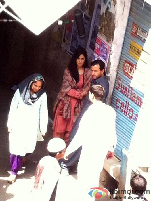 Saif Ali Khan and Katrina Kaif on sets of 'Phantom'