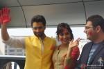 Jackky Bhagnani, Neha Sharma and Kayoze Irani celebrate Holi to promote 'Youngistaan' Pic 4