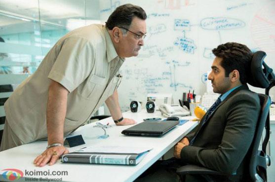 Rishi Kapoor and Ayushmann Khurrana in a still from movie 'Bewakoofiyaan'