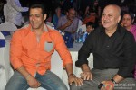 Salman Khan and Anupam Kher during the promotion of 'Veer' campaign