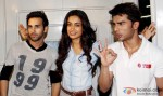 Pulkit Samrat, Sarah Jane Dias and Bilal Amrohi during the special screening of film 'O Teri'