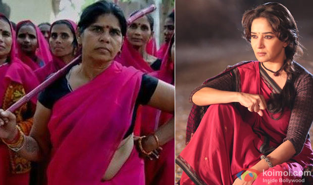 Sampat Pal still from 'Gulabi Gang' and Madhuri Dixit still from 'Gulaab Gang'
