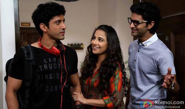 Farhan Akhtar, Vidya Balan and Purab Kohli in a still from movie 'Shaadi Ke Side Effects'