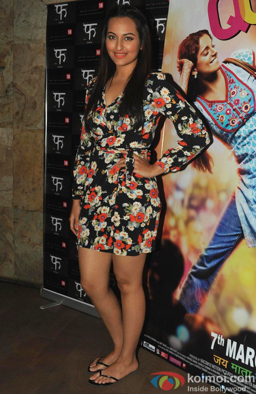 Sonakshi Sinha poses at Queen's special screening