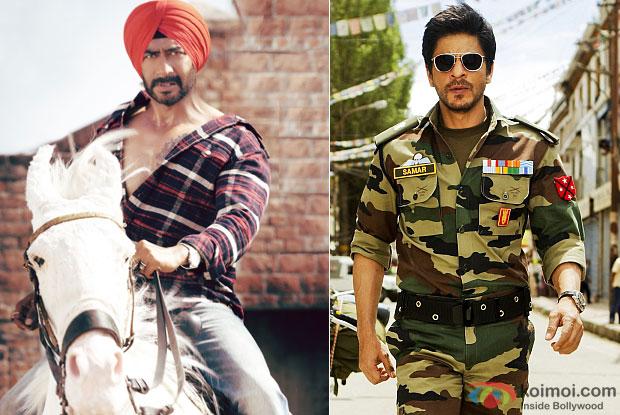 Ajay Devgn in a still from movie 'Son Of Sardaar' and Shah Rukh Khan in a still from movie 'Jab Tak Hain Jaan'