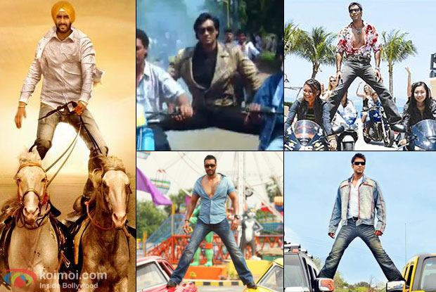 Ajay Devgn in a still from different movies with his stunt scenes