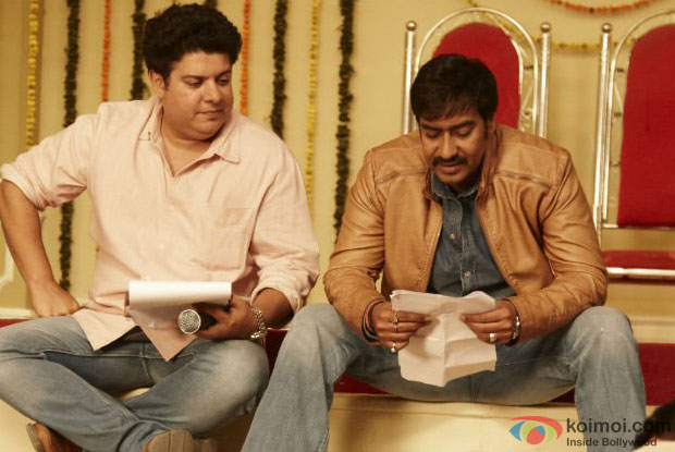 Sajid Khan and Ajay Devgn on the sets of movie 'Himmatwala'