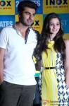 Arjun Kapoor and Alia Bhatt during the promotion of film '2 States' in Kolkata Pic 2