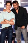 Tiger Shroff and Jackie Shroff during the trailer launch of 'Heropanti'