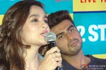 Alia Bhatt and Arjun Kapoor during the promotion of film '2 States' in Bangalore Pic 1