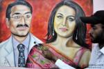 Artist Rubal paints a picture of Rani Mukerji and Aditya Chopra Pic 1