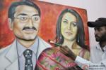 Artist Rubal paints a picture of Rani Mukerji and Aditya Chopra Pic 2
