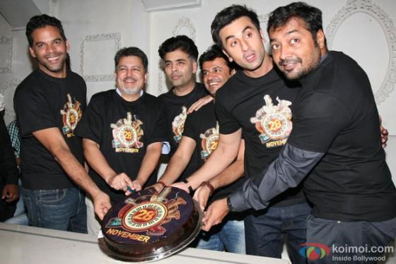 Vikram Aditya Motwane, Vijay Singh, Karan Johar, Vikas Bahl, Ranbir Kapoor and Anurag Kashyap at the Bombay Velvet's Wrap up party
