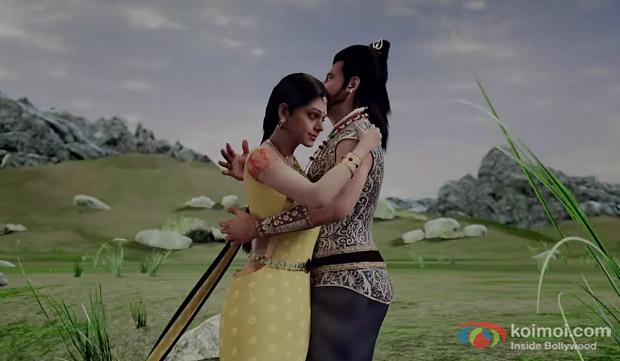 Deepika Padukone and Rajnikanth in a still from movie 'Kochadaiiyaan'