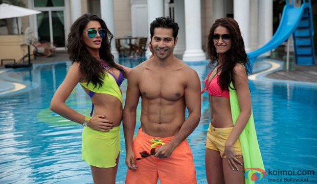 Nargis Fakhri, Varun Dhawan and Ileana DCruz in a still from Movie 'Main Tera Hero'