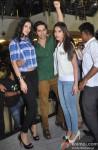 Nargis Fakhri, Varun Dhawan and Ileana DCruz during the promotion of film 'Main Tera Hero' in Indore Pic 1