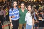 Nargis Fakhri, Varun Dhawan and Ileana DCruz during the promotion of film 'Main Tera Hero' in Indore Pic 2
