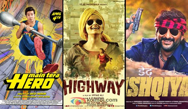 'Main Tera Hero', 'Highway' and 'Dedh Ishqiya' Movie Poster
