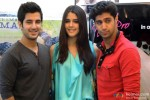 Aditya Seal, Izabelle Leite and Tanuj Virwani during the promotion of 'Purani Jeans' in Gurgaon Pic 1