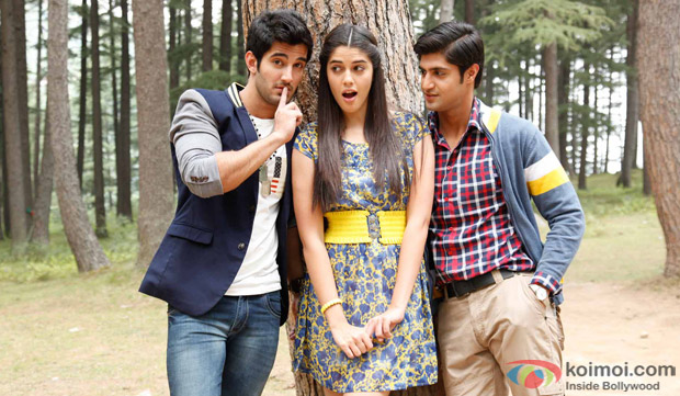 Aditya Seal, Isabelle Liete and Tanuj Virwani in a still from movie 'Purani Jeans'