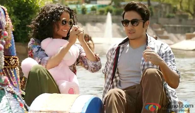 Kangana Ranaut and Vir Das in a still from movie 'Revolver Rani'