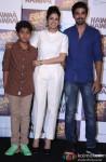 Partho Gupte, Sridevi and Saqib Saleem during the trailer launch of 'Hawaa Hawaai'