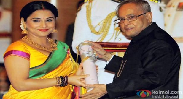 Vidya Balan Receives The Padmashree Award from the President of India Pranab Mukherjee