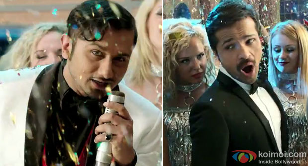 Honey Singh and Himesh Reshammiya in a still from movie 'The Xpose'
