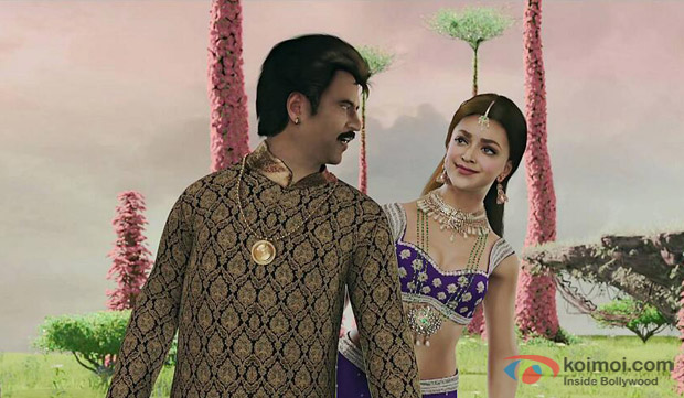 Rajnikanth and Deepika Padukone in a still from movie 'Kochadaiiyaan'